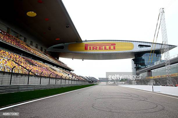 A general view of the pit straight during previews to the Formula One Grand Prix of China at Shanghai International Circuit on April 9 2015 in...