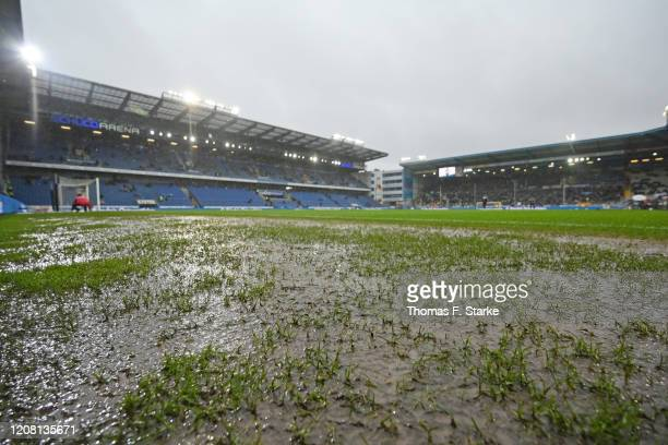 A general view of the pitch after heavy rain prior to the Second Bundesliga match between DSC Arminia Bielefeld and Hannover 96 at Schueco Arena on...