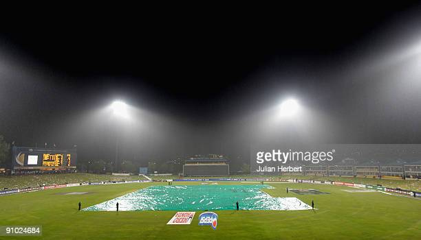 A general view of the pitch after rain interupted play during the ICC Champions Trophy Group B match between South Africa and Sri Lanka played at...