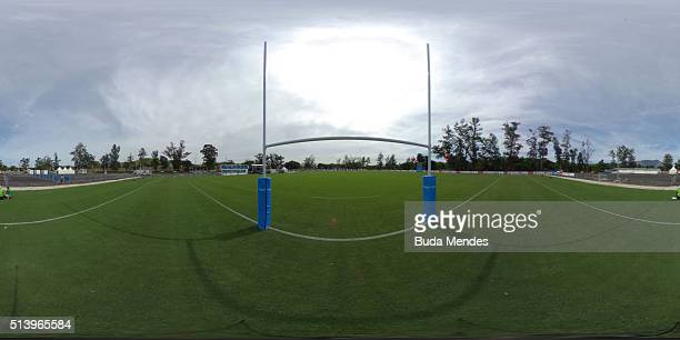 A general view of the pitch ahead during International Womens Rugby Sevens Aquece Rio Test Event for the Rio 2016 Olympics at Deodoro Olympic Park on...