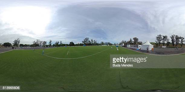 General view of the pitch ahead during International Womens Rugby Sevens - Aquece Rio Test Event for the Rio 2016 Olympics at Deodoro Olympic Park on...