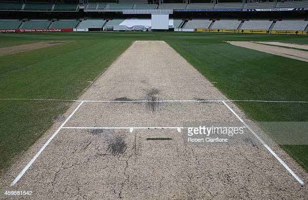 A general view of the pitch ahead of day 2 of the Sheffield Shield match between Victoria and Western Australia at Melbourne Cricket Ground on...