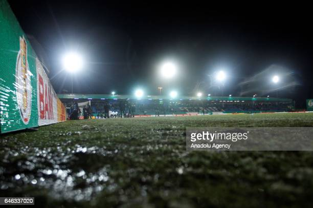 A general view of the pitch and stadium during heavy snow fall in Lotte Germany on February 28 2017 Sportfreunde Lotte and Borussia Dortmund were...