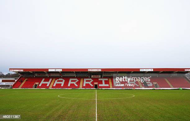 A general view of the pitch and stand prior to the Budweiser FA Cup third round match between Kidderminster Harriers and Peterborough United at...