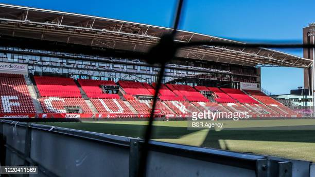 General view of the pitch and the stands as seen through the goal net at Galgenwaard Stadium, home of FC Utrecht, on April 17, 2020 in Utrecht,...