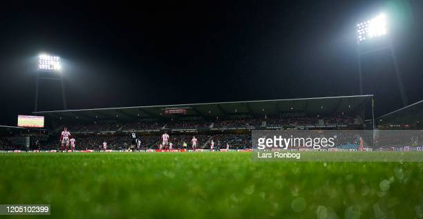General view of the pitch and the stands during the Danish Cup Sydbank Pokalen Quarter Final match between AaB Aalborg and FC Copenhagen at Aalborg...