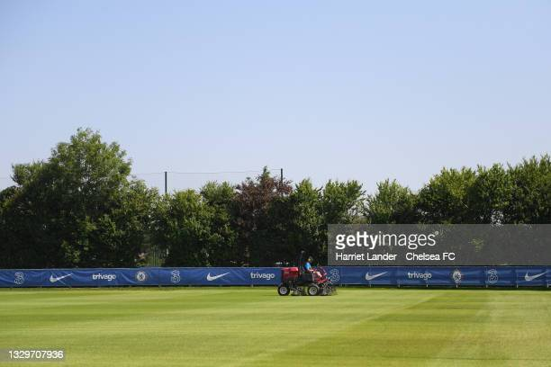 General view of the pitch as it is mown prior to a Chelsea FC Women's Training Session at Chelsea Training Ground on July 20, 2021 in Cobham, England.