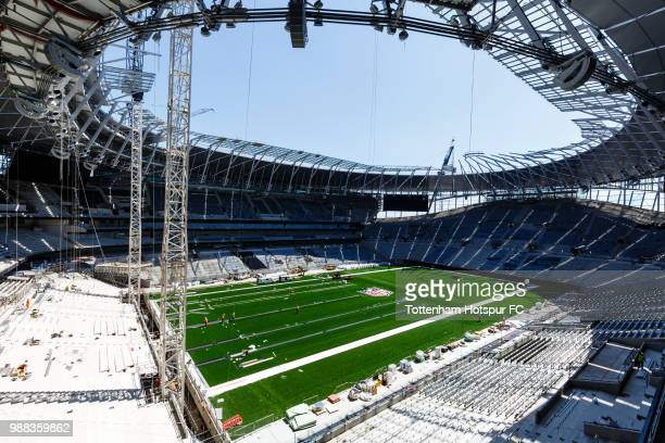 A general view of the pitch as work continues on Tottenham Hotspur's new stadium at White Hart Lane on June 27 2018 in London England
