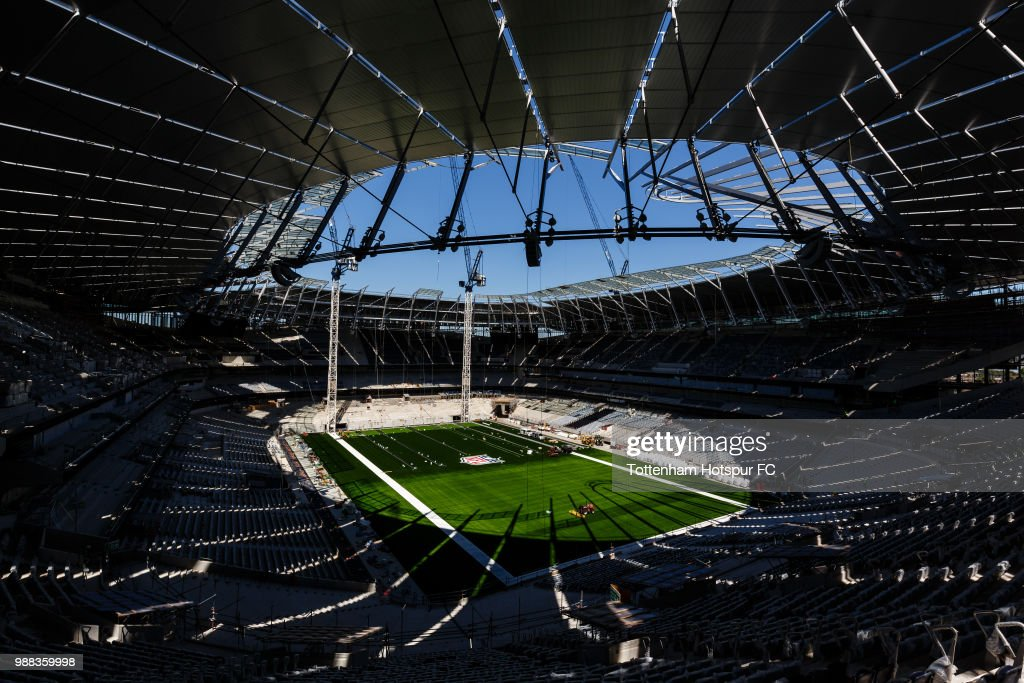 A general view of the pitch as work continues on Tottenham Hotspur's new stadium at White Hart Lane on June 27, 2018 in London, England.