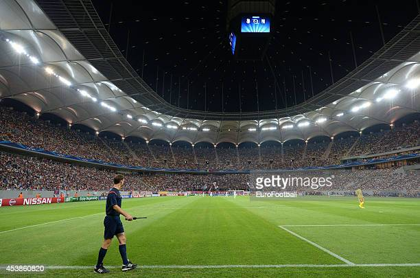 A general view of the pitch at the Arena Nationala during the UEFA Champions League first leg playoff match against between FC Steaua Bucuresti and...