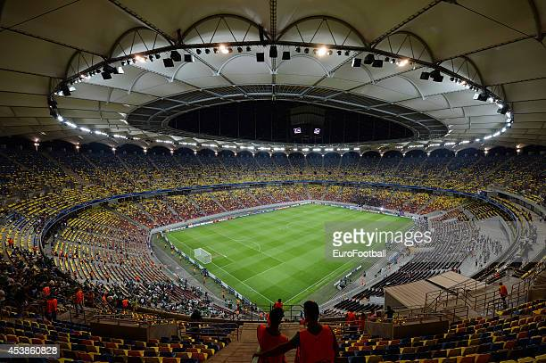 General view of the pitch at the Arena Nationala during the UEFA Champions League first leg play-off match against between FC Steaua Bucuresti and...
