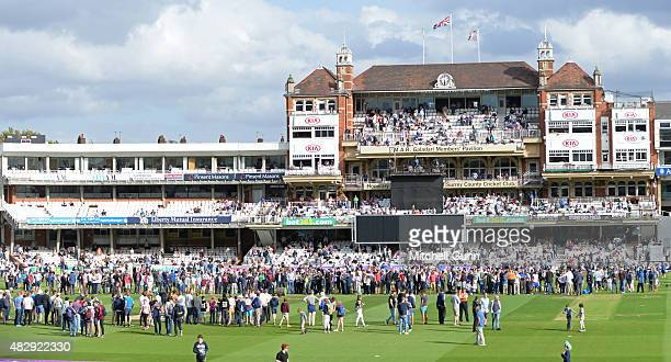 A general view of the pitch at the change of innings during the Royal London One Day Cup match between Surrey and Worcestershire at the Kia Oval...