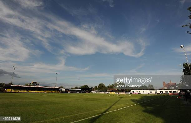 General view of the pitch before a pre-season friendly between Harrogate Town and Hull City at the CNG Stadium on July 21, 2014 in Harrogate, England.