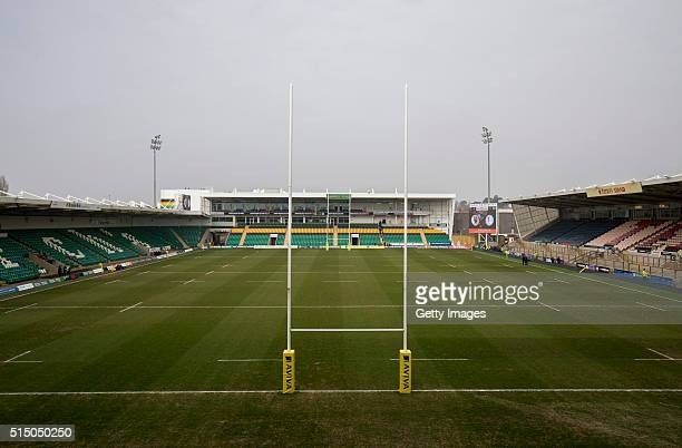 A general view of the pitch before the Aviva Premiership match between Northampton Saints and Sale Sharks at Franklin's Gardens on March 12 2016 in...