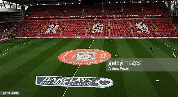 General view of the pitch before the Barclays Premier League match between Liverpool and Hull City at Anfield on October 25 2014 in Liverpool England