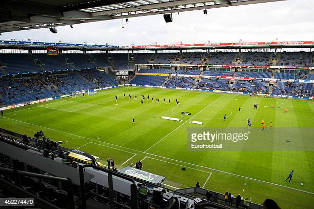A general view of the pitch before the Danish Superliga match between Brondby IF and FC Midtjylland at the Brondby Stadium on May 08 2014 in...