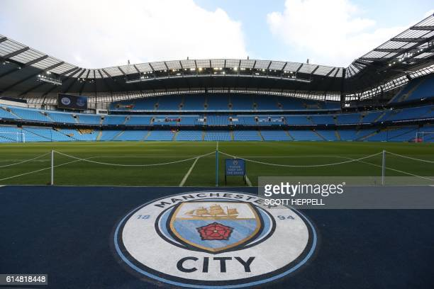 A general view of the pitch before the English Premier League football match between Manchester City and Everton at the Etihad Stadium in Manchester...