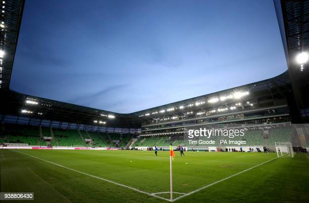 General view of the pitch before the international friendly match at the Groupama Arena, Budapest.