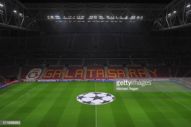 A general view of the pitch before the UEFA Champions League Round of 16 first leg match between Galatasaray AS and Chelsea at Ali Sami Yen Arena on...