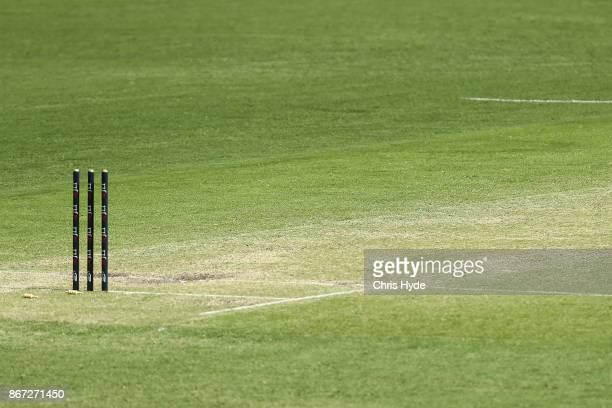 General view of the pitch during day three of the Sheffield Shield match between Queensland and Victoria at the Gabba on October 28 2017 in Brisbane...