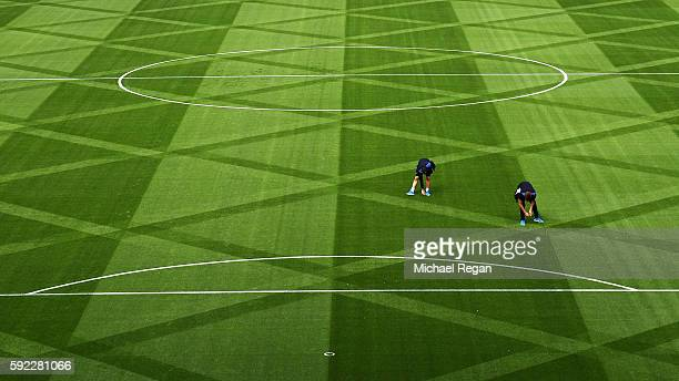 General view of the pitch during the Premier League match between Leicester City and Arsenal at The King Power Stadium on August 20 2016 in Leicester...