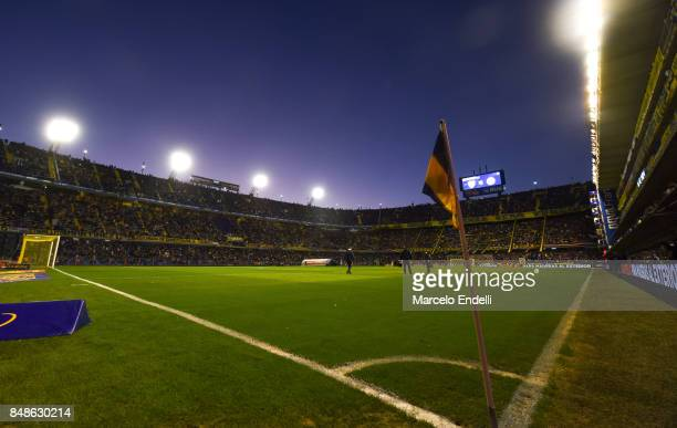 General view of the pitch from the corner flag during a match between Boca Juniors and Godoy Cruz as part of Superliga 2017/18 at Alberto J Armando...