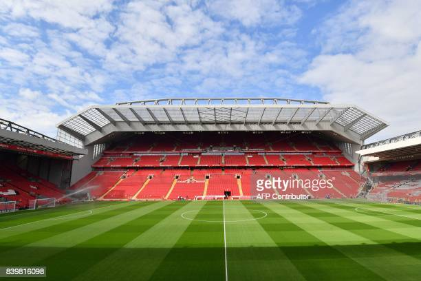 General view of the pitch in the sunshine ahead of the English Premier League football match between Liverpool and Arsenal at Anfield in Liverpool,...
