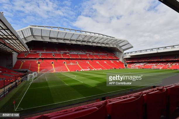 A general view of the pitch in the sunshine ahead of the English Premier League football match between Liverpool and Arsenal at Anfield in Liverpool...