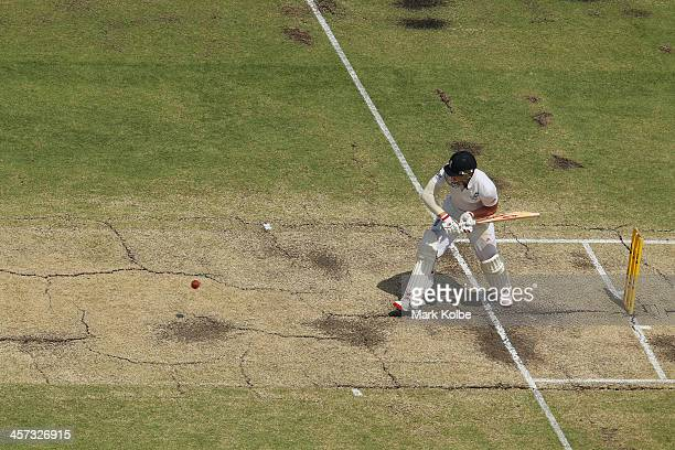 A general view of the pitch is seen as Ben Stokes of England bats during day five of the Third Ashes Test Match between Australia and England at WACA...