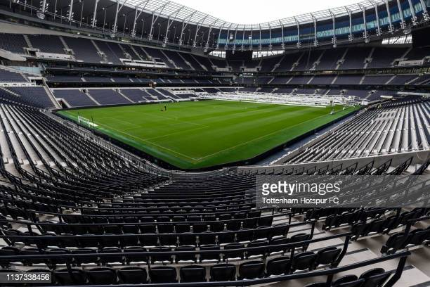 A general view of the pitch of the new Tottenham Hotspur Stadium on March 12 2019 in London England