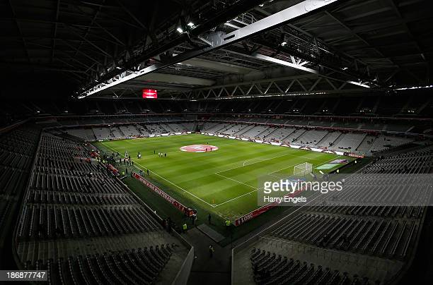 A general view of the pitch prior to kick off during the French Ligue 1 match between OSC Lille and AS Monaco at the Grand Stade Metropole...