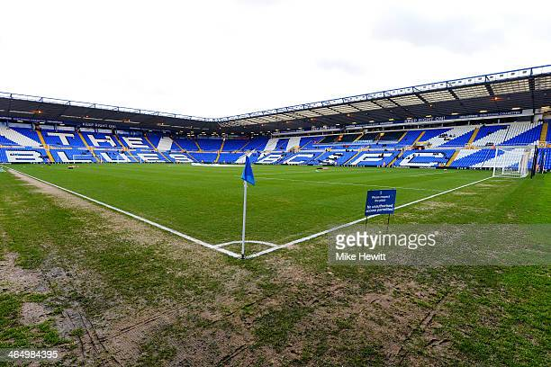 A general view of the pitch prior to kickoff during the FA Cup fourth round match between Birmingham City and Swansea City at St Andrews Stadium on...