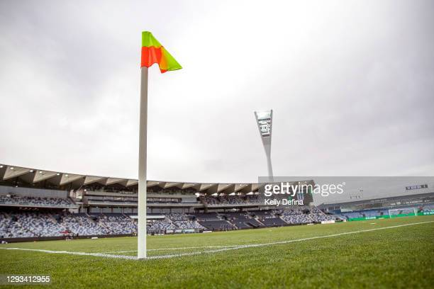 General view of the pitch prior to the A-League match between Western United FC and Adelaide United at GMHBA Stadium, on December 28 in Geelong,...
