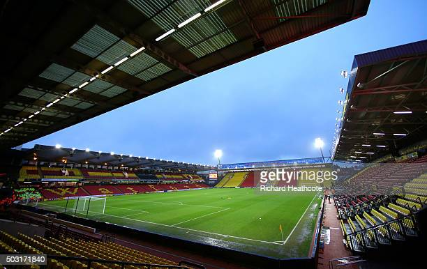 A general view of the pitch prior to the Barclays Premier League match between Watford and Manchester City at Vicarage Road on January 2 2016 in...