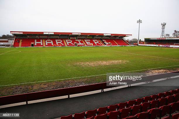 General view of the pitch prior to the Budweiser FA Cup third round match between Kidderminster Harriers and Peterborough United at Aggborough...