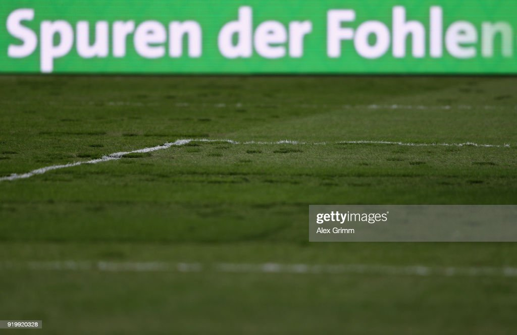 A general view of the pitch prior to the Bundesliga match between Borussia Moenchengladbach and Borussia Dortmund at Borussia-Park on February 18, 2018 in Moenchengladbach, Germany.