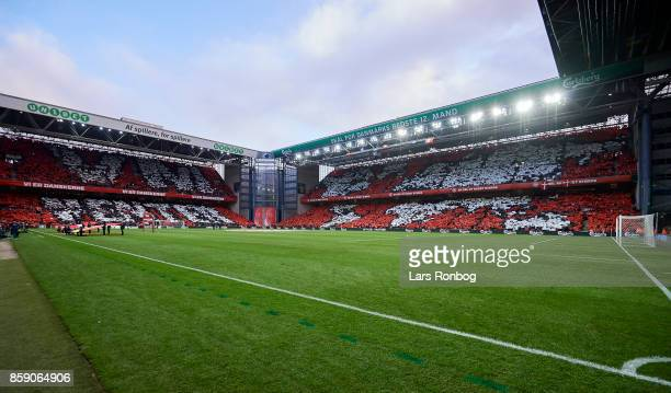 General view of the pitch prior to the FIFA World Cup 2018 qualifier match between Denmark and Romania at Telia Parken Stadium on October 8 2017 in...