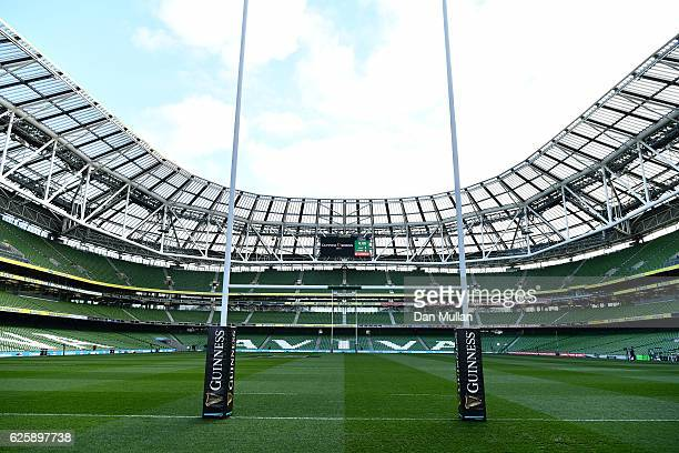 A general view of the pitch prior to the international match between Ireland and Australia at the Aviva Stadium on November 26 2016 in Dublin Ireland