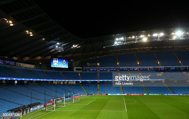 A general view of the pitch prior to the UEFA Champions League Group D match between Manchester City and Borussia Monchengladbach at Etihad Stadium...
