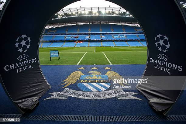 A general view of the pitch prior to the UEFA Champions League quarter final second leg match between Manchester City FC and Paris SaintGermain at...