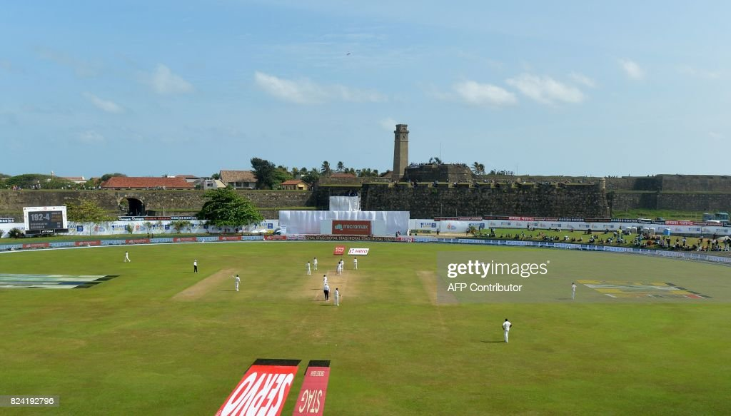 A general view of the pitch shows the fourth day of the first Test match between Sri Lanka and India at Galle International Cricket Stadium in Galle on July 29, 2017. Virat Kohli's India thrashed Sri Lanka by 304 runs inside four days on July 28 to claim the first Test in their three-match series. /