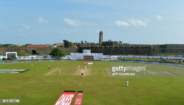 A general view of the pitch shows the fourth day of the first Test match between Sri Lanka and India at Galle International Cricket Stadium in Galle...