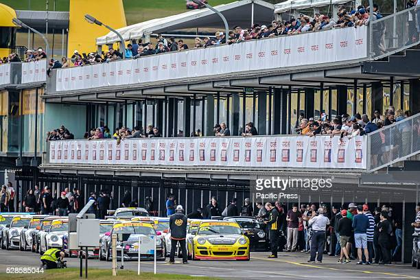 General view of the pits prior to the Carrera Cups Rennsport ProAm 34 lap contest during final day of the Porsche Rennsport Australia Motor Racing...