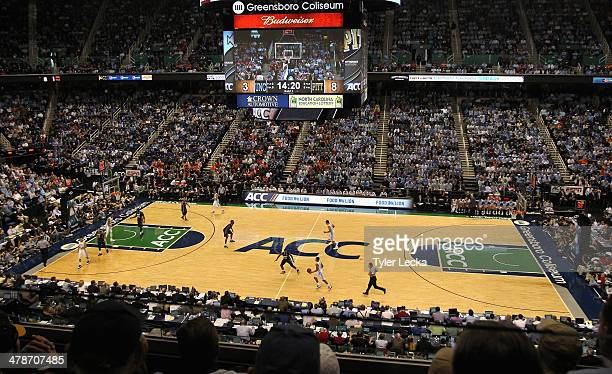 A general view of the Pittsburgh Panthers verus North Carolina Tar Heels during the quarterfinals of the 2014 Men's ACC Basketball Tournament at...