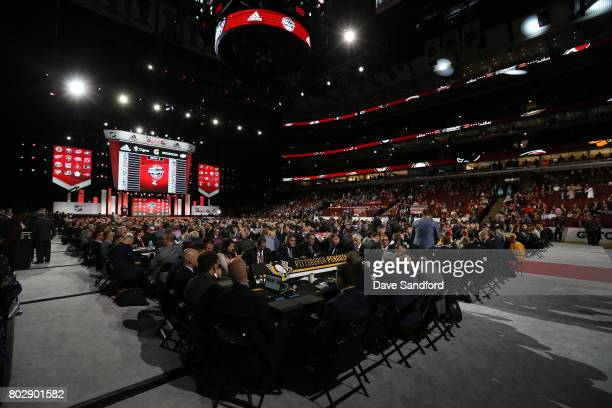 A general view of the Pittsburgh Penguins draft table is seen during the 2017 NHL Draft at United Center on June 24 2017 in Chicago Illinois
