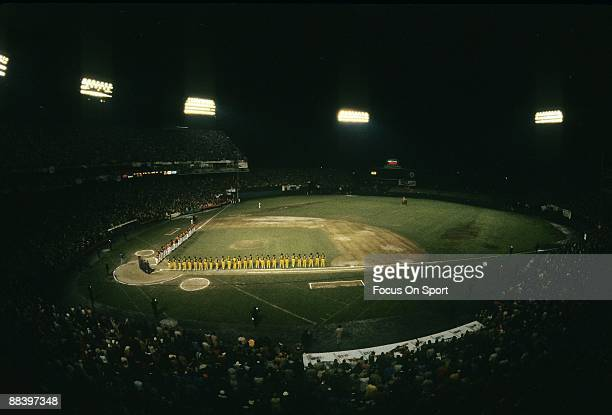 General view of the Pittsburgh Pirates and Baltimore Orioles standing on the first and third baseline for the National Anthem before a 1979 World...