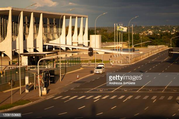 General view of the Planalto Palaceduring the coronavirus pandemic on April 4, 2020 in Brasilia, Brazil. According to the Ministry of health, as of...