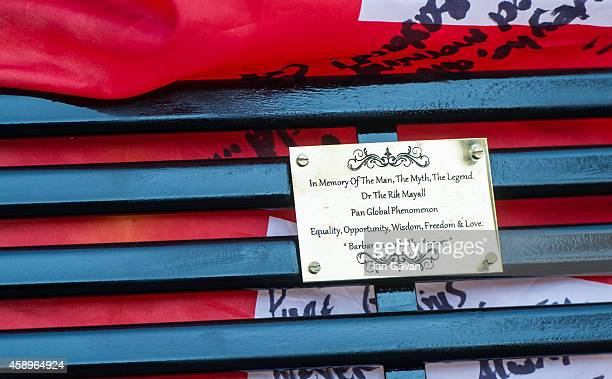 A general view of the plaque as a memorial bench for the late Rik Mayall is unveiled on November 14 2014 in London England