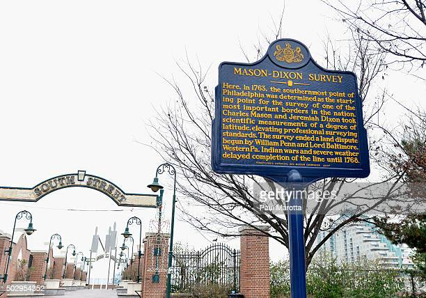 A general view of the plaque commemorating the site of the MasonDixon Survey in 1763 on December 30 2015 in Philadelphia Pennsylvania