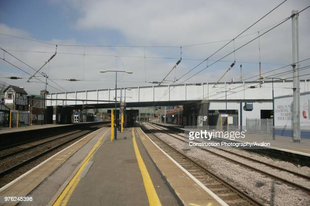 General view of the platform and overbridge at St Albans City station, Hertfordshire 3rd May 2007.